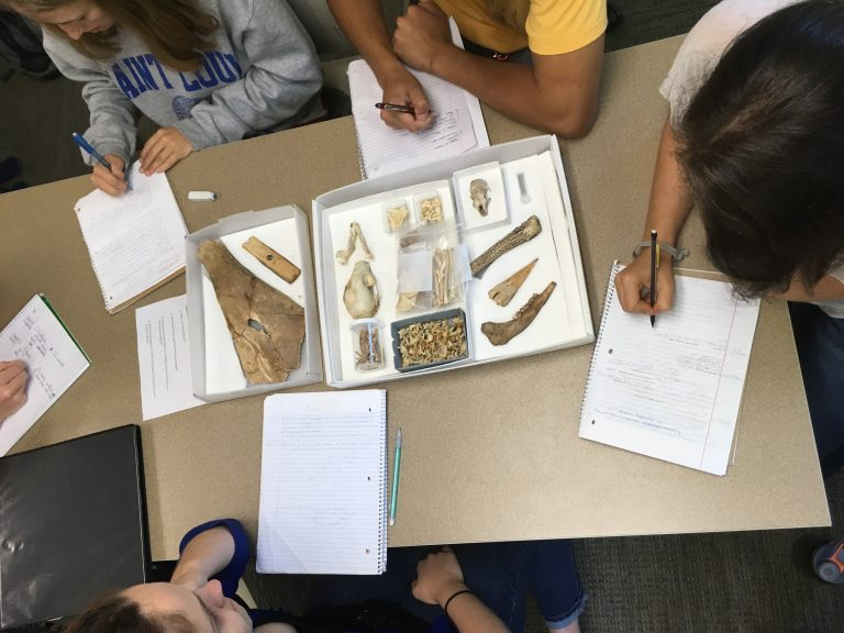 Photograph of Students in Anthro 212 working on lab project with faunal material