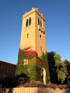 Carillon Tower in front of Sewell Social Science Building